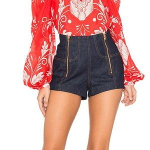 Alice McCall | Denim Zip Front High Waisted Shorts